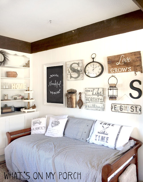 farmhouse gallery wall and daybed