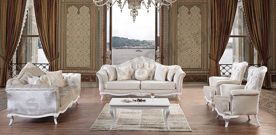 For Sale   Broken White Elegant Classic Sofa Set