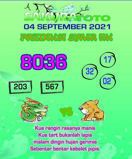 Syair HK Sabtu 04 September 2021 -