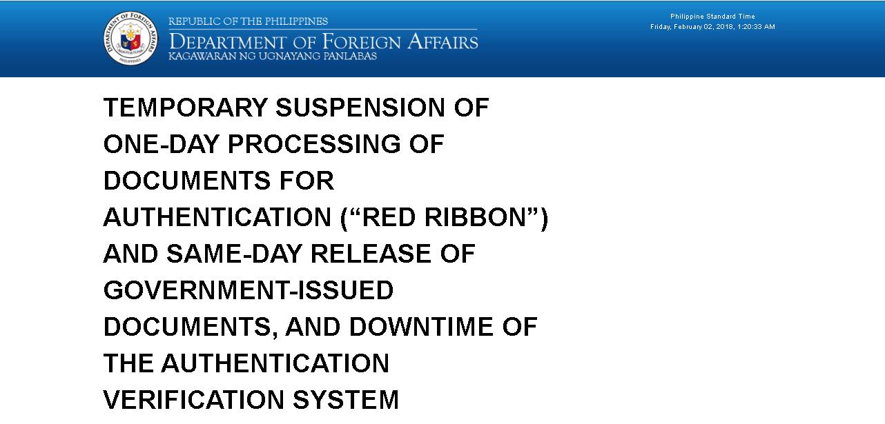DFA Red Ribbon Notice