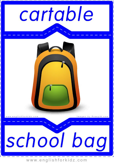school bag in French, cartable en anglais, English-French school flashcards