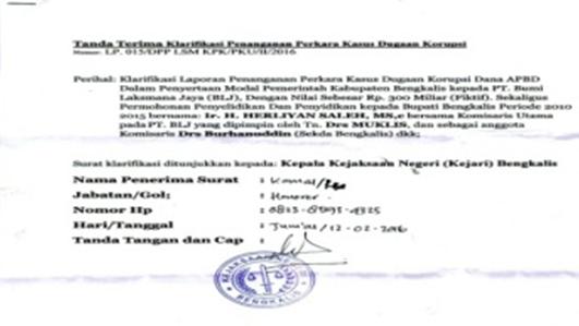 LSM Pertanyakan Keterlibatan Herliyan Saleh Terkait Kasus Korupsi Rp300 Miliar ke Kejari Bengkalis