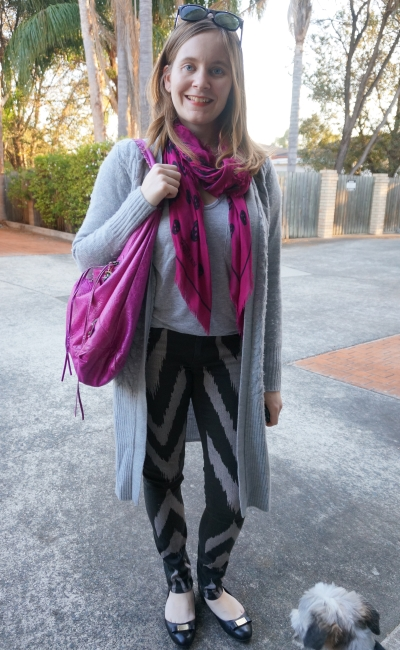 printed sass adn bide jeans black and grey and magenta pink balenciaga bag SAHM winter outfit | AwayFromBlue