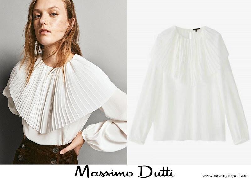 Queen Letizia wore Massimo Dutti Pleated Silk Blouse in White