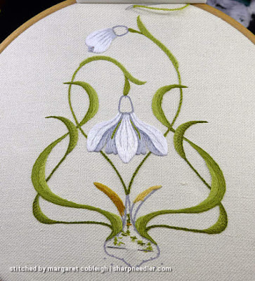 Central crewel snowdrop flower with initial shadows added