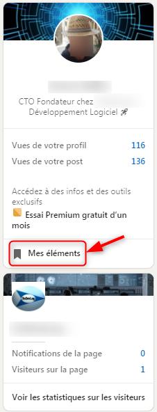 LinkedIn - Pour accéder aux articles enregistrés