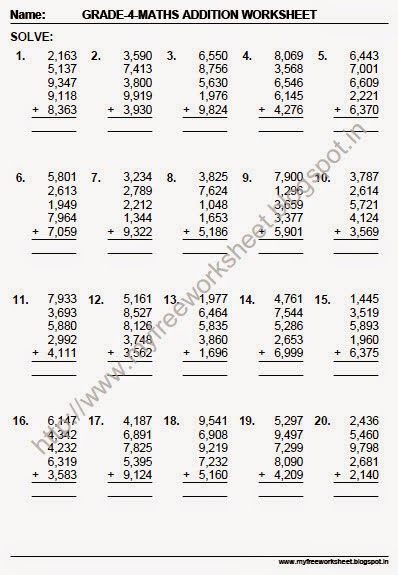 My Free Worksheet: Maths for class 4 students Worksheet-3 (Adding 4