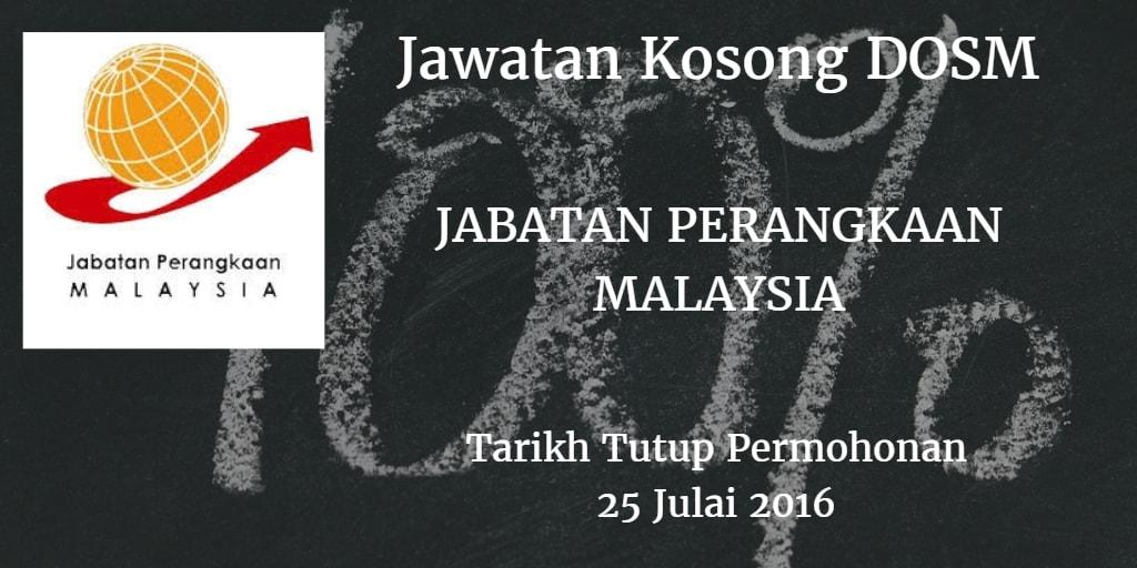 Jawatan Kosong Jabatan Perangkaan Malaysia (DOSM) 25 Julai 2016