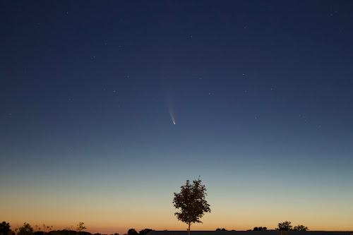 comet neowise at dawn before sunrise
