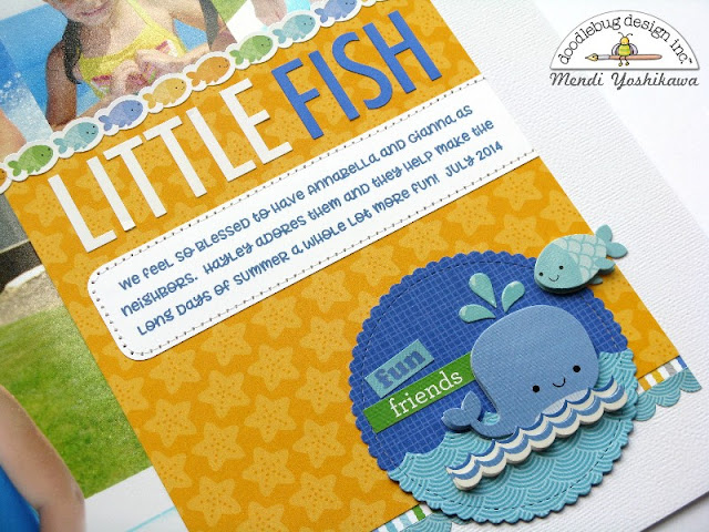 Doodlebug Design: Anchors Aweigh Little Fish Pool Themed Scrapbook Layout by Mendi Yoshikawa