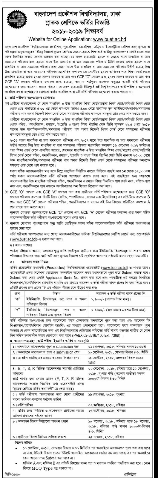 Chittagong University of Engineering and Technology (CUET) Admission Circular 2018-2019