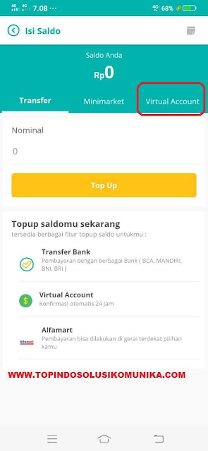 Tekan tab virtual account