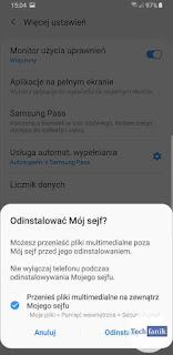 Samsung Jak odinstalować Mój Sejf?