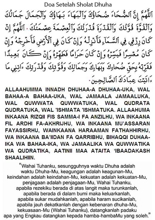 Dzikir Tata Cara Bacaan Niat Doa Sesudah Sholat Dhuha Dan Waktunya