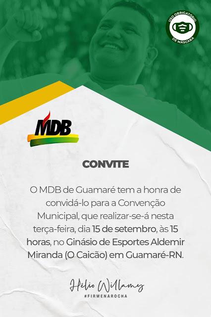 MDB de Guamaré homologa nome de Hélio à prefeito em convenção nesta tarde