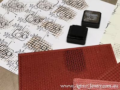 Tim Holtz Rubber Stamp from Merry Misfits with Darkroom Door Knitting Stamps - mixed media art by Jenny James