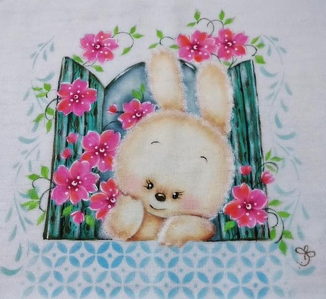 coelho de páscoa pintura em tecido