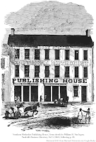 Engraving, 'Southern Methodist Publishing House,' from sketch by William H. Van Ingen; Nashville Business Directory, Vol. 5 (1860), following p. 88. Retrieved 2021 from Harvard University via Google Books.