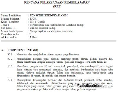 RPP PJOK Kelas 3 Tema 1 Kurikulum 2013 Revisi 2019