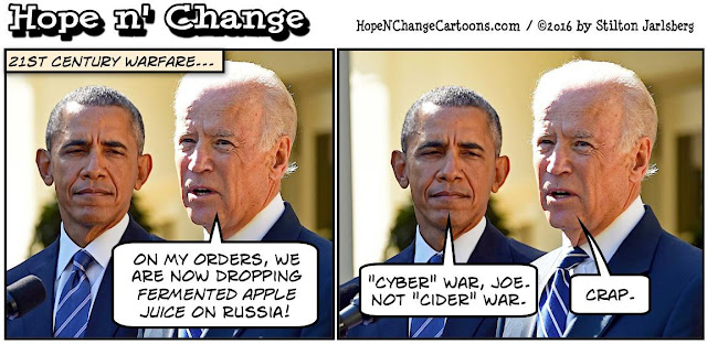 obama, obama jokes, political, humor, cartoon, conservative, hope n' change, hope and change, stilton jarlsberg, wikileaks, biden, cyber, attack, russia