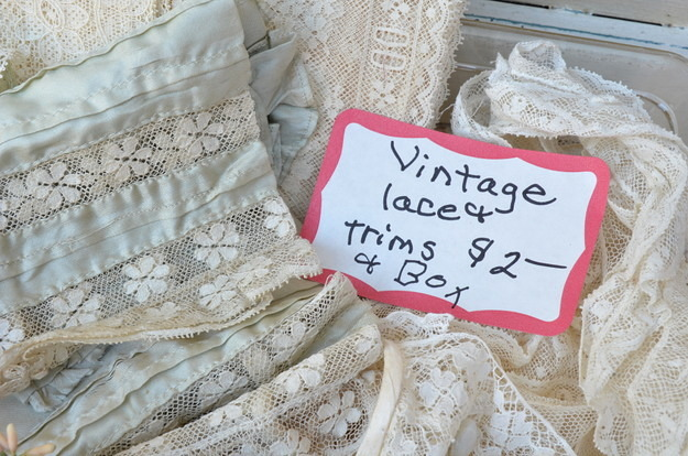 box of vintage lace and trim