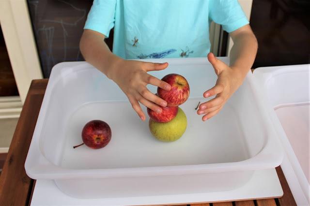 Criança a equilibrar uma torre de maçãs