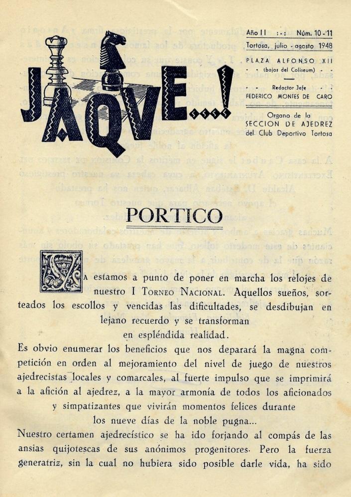 Página 2 del Boletín del I Torneo Nacional de Ajedrez de Tortosa 1948