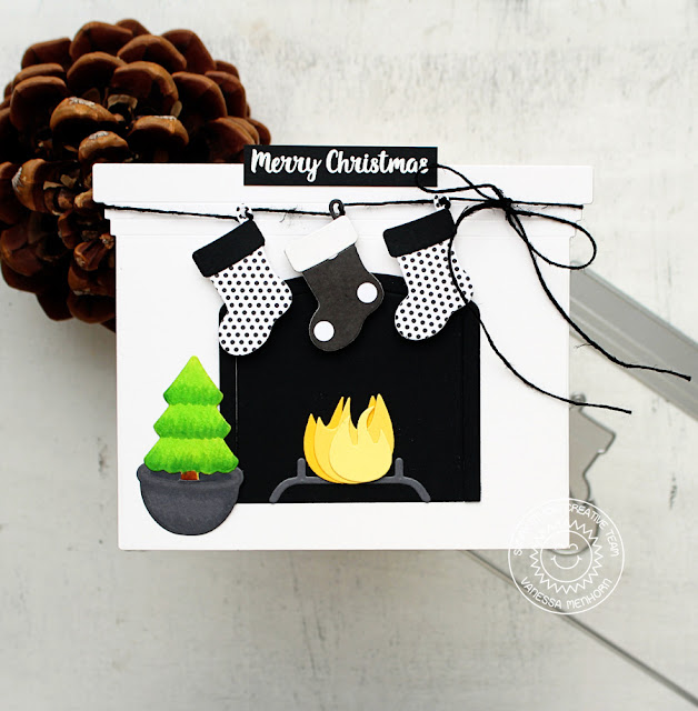 Sunny Studio Stamps: Fireplace Shaped Dies Elegant Christmas Card by Vanessa Menhorn
