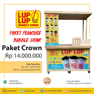 paket franchise minuman lup lup bubble drink milkshake ice blend cincau station mango king thai tea