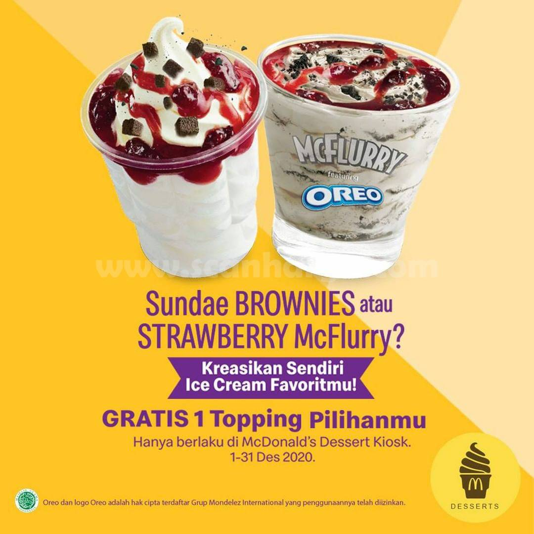 McDonalds Promo Beli Sundae Brownies atau Strawberry McFlurry GRATIS 1 Topping Pilihanmu