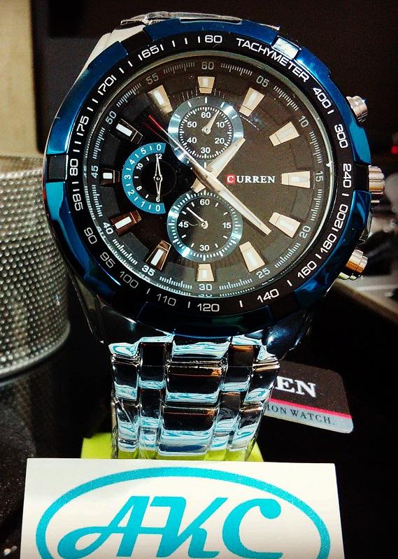Reloj CURREN elegante en plateado con azul    AKC Compras ca964137301