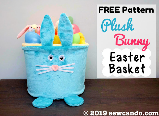 Free pattern plush Easter bunny basket