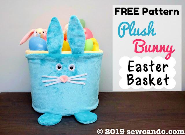 Free sewing pattern: Plush Easter bunny basket