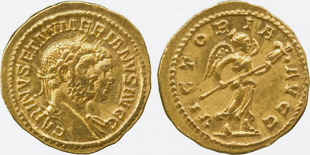 aureo de Carino y Numeriano emperadores romanos