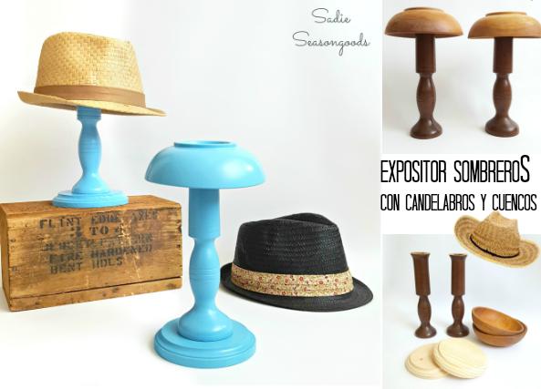 Expositor de sombreros con candelabros y cuencos