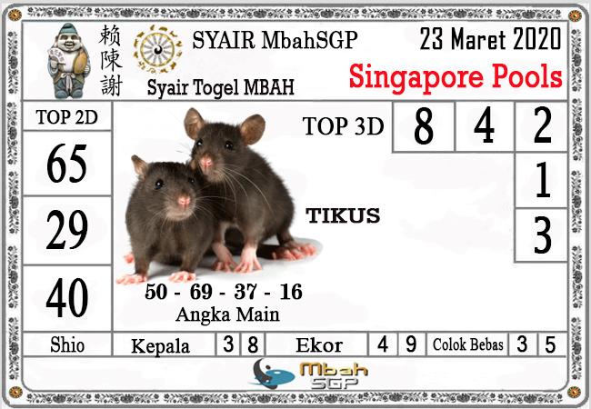 Prediksi Togel Singapura Senin 23 Maret 2020 - Syair Mbah SGP