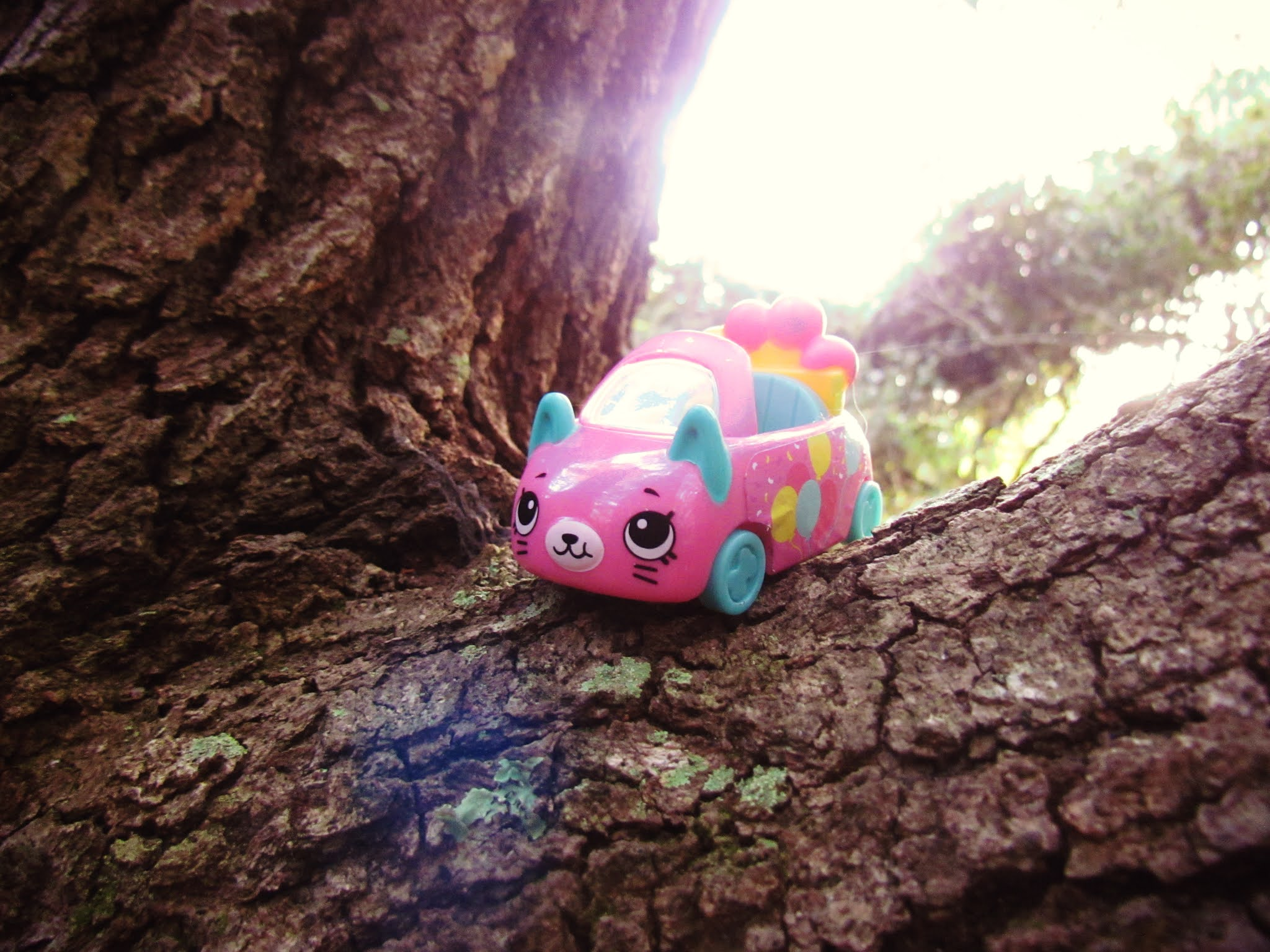 A tiny pink toy car, girls novelty toy, with mouse face in an oak tree in the park in Florida