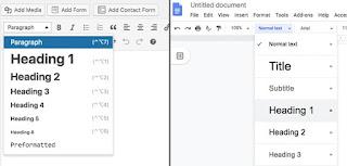 Etiquetas de encabezado (etiquetas H) son opciones de formato que puede aplicar al contenido de su publicación .  En lugar de cambiar los tamaños de fuente para enfatizar los encabezados, debe seleccionar los tamaños de encabezado en el menú.  Aquí le mostramos cómo seleccionar sus formatos de encabezado tanto en el editor de contenido de WordPress como en Google Docs:
