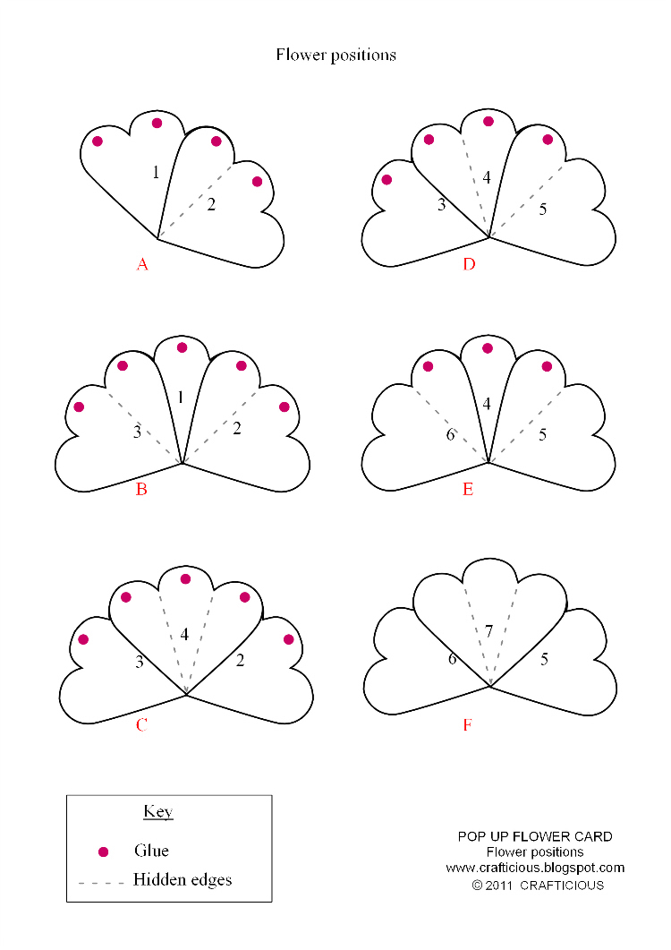 Crafticious pop up card valentine flowers for Free popup card templates