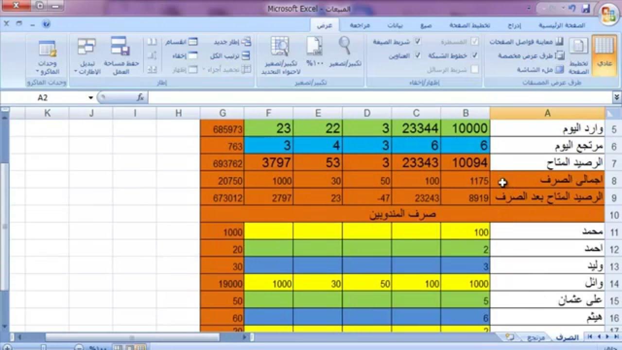تحليل البيانات وإدارة الحسابات في برنامج مايكروسوفت إكسيل