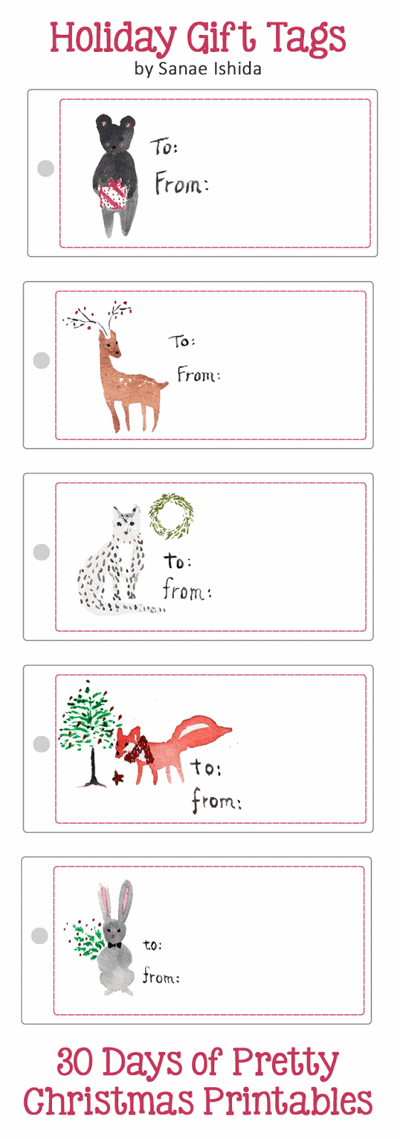 Beautiful hand-painted holiday gift tags freebie by Sanae Ishida. Blog series hosted by GradeONEderfulDesigns.com