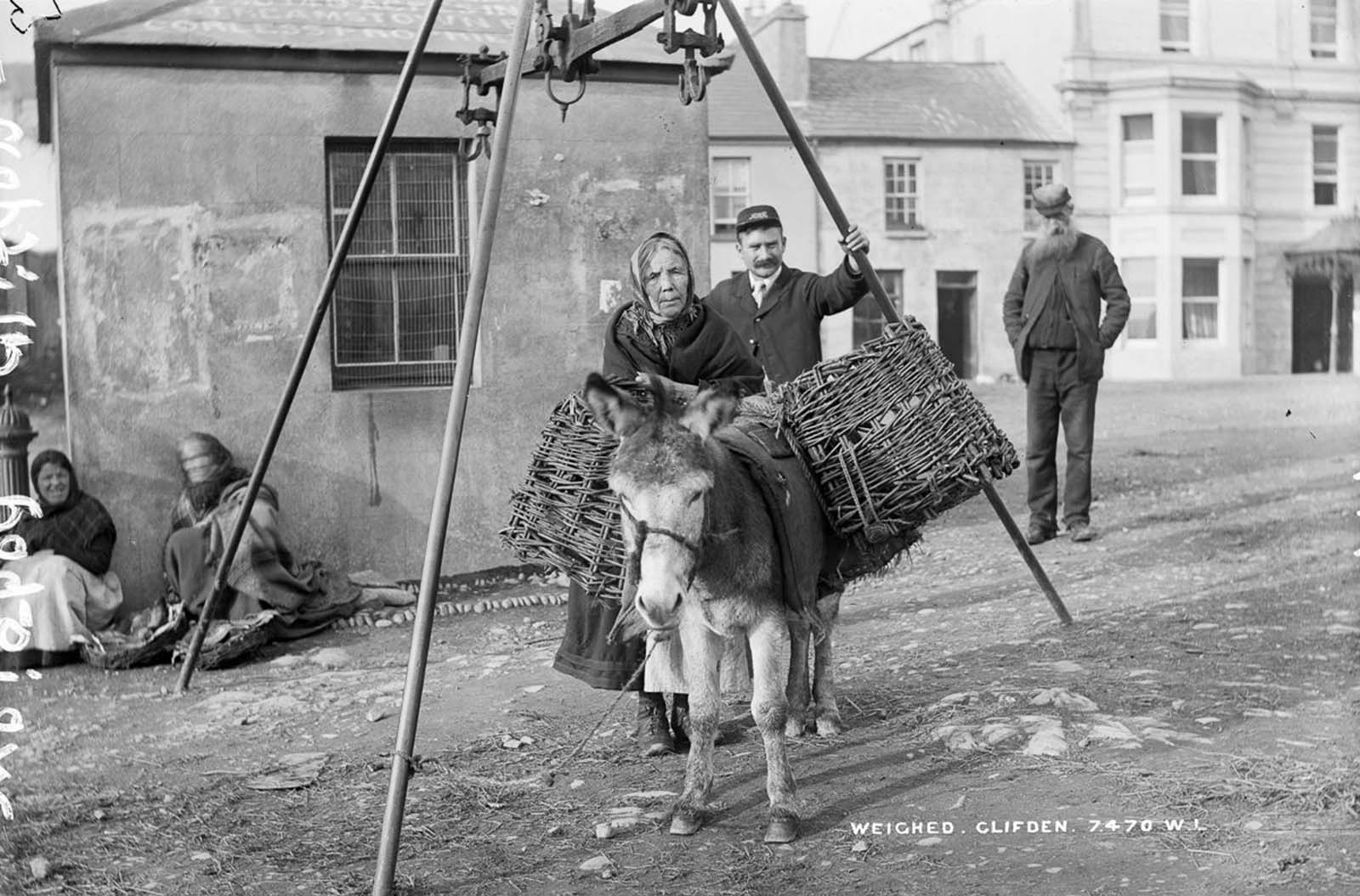 A weigh station in Clifden, County Galway. 1908.