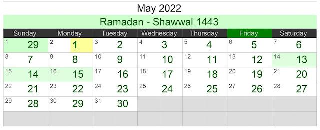 Kalender Hijriah Bulan Mei 2022 Lengkap Jadwal Puasa