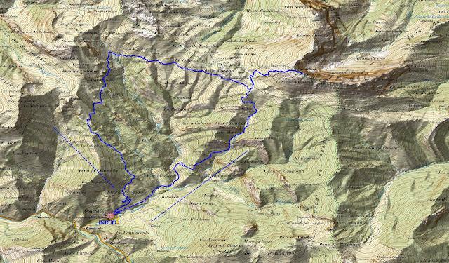 Ruta del Tiatordos: Mapa topográfico.