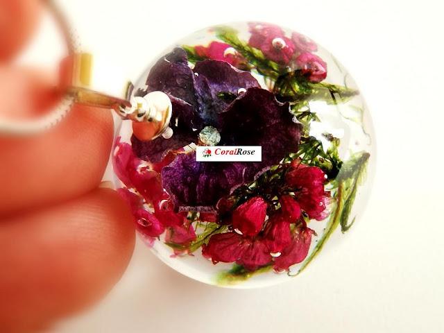 naszyjnik kwiat w żywicy