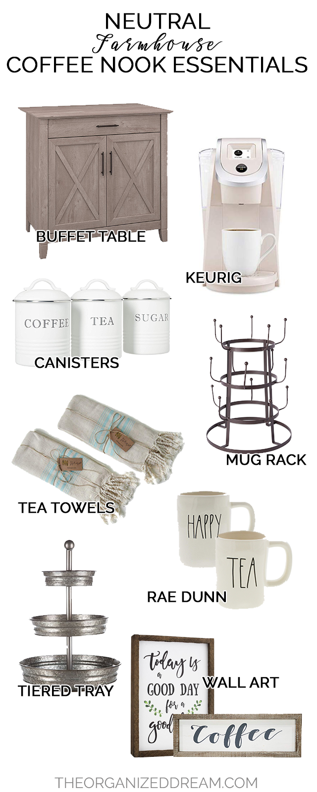 Farmhouse style decor essentials for your coffee nook.