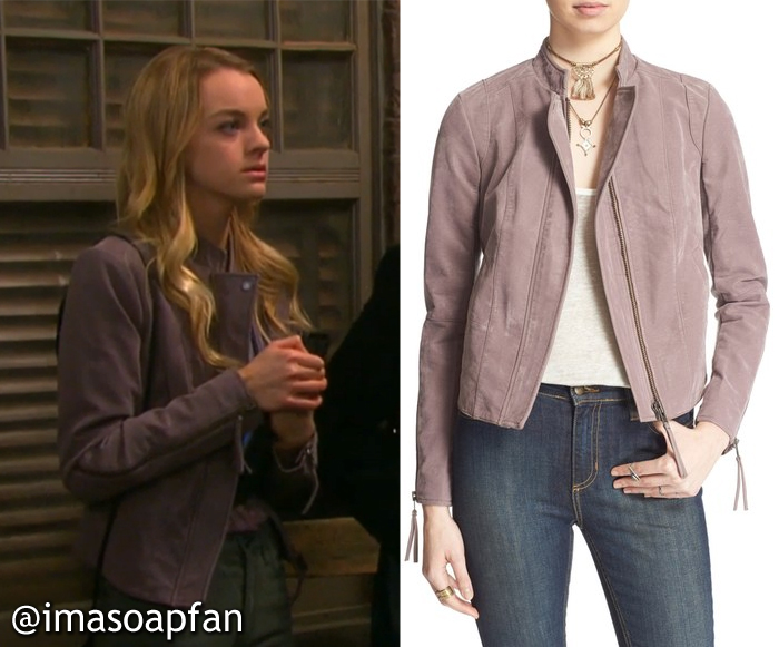 Claire Brady's Dusk Purple Vegan Leather Jacket - Days of Our Lives, Season 51, Episode 09/26/16