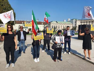 إدانة اعدام نوید افکاری بطل المصارعة  تجمعات احتجاجیة للجاليات الإيرانیة من انصار المقاومة الإيرانیة ومجاهدی خلق فی 7 مدن اوروبیة