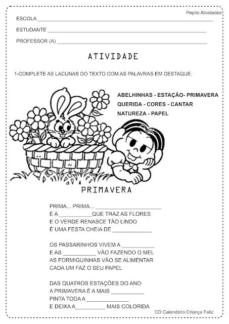 Atividade Alfabetização Texto Lacunado Projeto Primavera