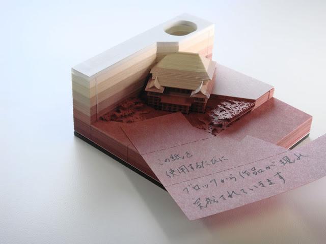 使えば使うほど清水寺が出来上がる?早く使い切りたくなりそうなメモブロック【i】 OMOSHIROI BLOCK